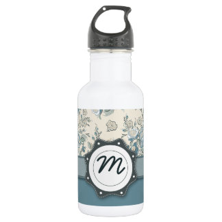 Blue and Cream Roses with Monogram Water Bottle