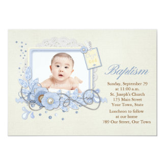 Blue and Cream Scrap-style Religious Photo Card