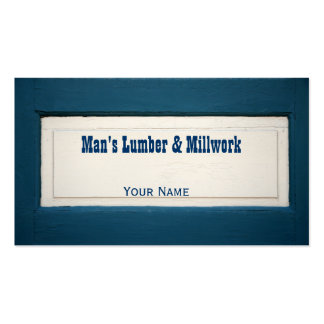 Blue and Cream Wood Panel Business Card
