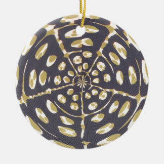 Blue and Creamy Crop Circle Polka Dot Oval Pattern Christmas Tree Ornament
