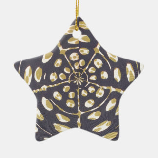 Blue and Creamy Crop Circle Polka Dot Oval Pattern Christmas Tree Ornaments