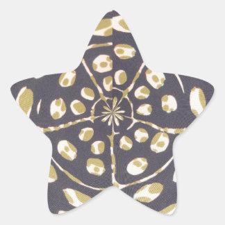 Blue and Creamy Crop Circle Polka Dot Oval Pattern Star Sticker
