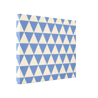 Blue And Creamy White Triangle Pattern Canvas Print