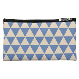 Blue And Creamy White Triangle Pattern Cosmetic Bag