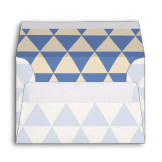 Blue And Creamy White Triangle Pattern Envelope