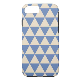 Blue And Creamy White Triangle Pattern iPhone 7 Case