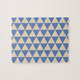 Blue And Creamy White Triangle Pattern Jigsaw Puzzle