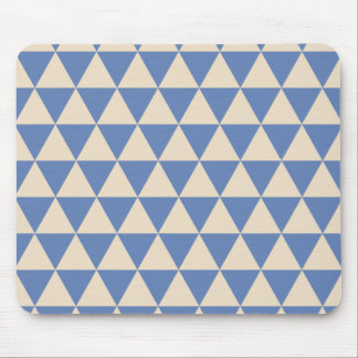 Blue And Creamy White Triangle Pattern Mouse Pad