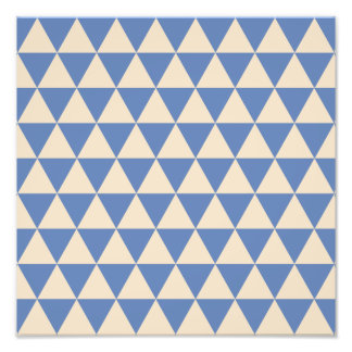 Blue And Creamy White Triangle Pattern Photo Print