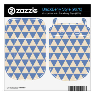 Blue And Creamy White Triangle Pattern Skin For BlackBerry