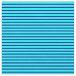 [ Thumbnail: Blue and Cyan Colored Lined/Striped Pattern Fabric ]