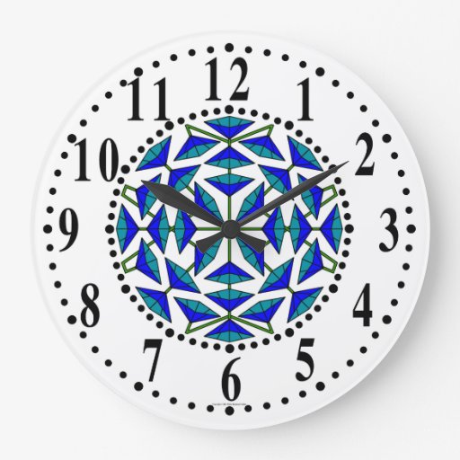 Blue And Cyan Floral 271 Medium Wall Clock