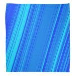 [ Thumbnail: Blue and Cyan Lines Pattern Bandana ]