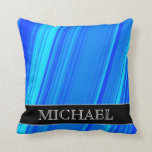 [ Thumbnail: Blue and Cyan Lines Pattern + Custom Name Pillow ]