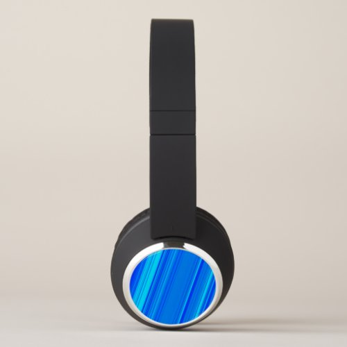 Blue and Cyan Lines Pattern Headphones