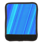 [ Thumbnail: Blue and Cyan Lines Pattern Luggage Handle Wrap ]