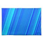 [ Thumbnail: Blue and Cyan Lines Pattern Mat ]