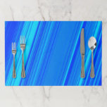 [ Thumbnail: Blue and Cyan Lines Pattern Placemat ]