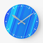 [ Thumbnail: Blue and Cyan Lines Pattern Wall Clock ]