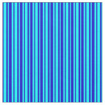 [ Thumbnail: Blue and Cyan Pattern of Stripes Fabric ]