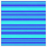 [ Thumbnail: Blue and Cyan Striped/Lined Pattern Fabric ]