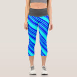 [ Thumbnail: Blue and Cyan Striped/Lined Pattern Leggings ]