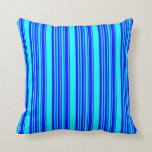 [ Thumbnail: Blue and Cyan Striped/Lined Pattern Throw Pillow ]