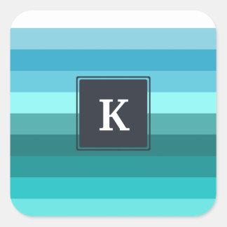 Blue and cyan stripes monogram square sticker