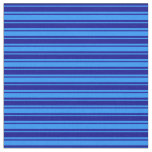 [ Thumbnail: Blue and Dark Blue Stripes/Lines Pattern Fabric ]