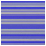 [ Thumbnail: Blue and Dark Gray Colored Stripes/Lines Pattern Fabric ]