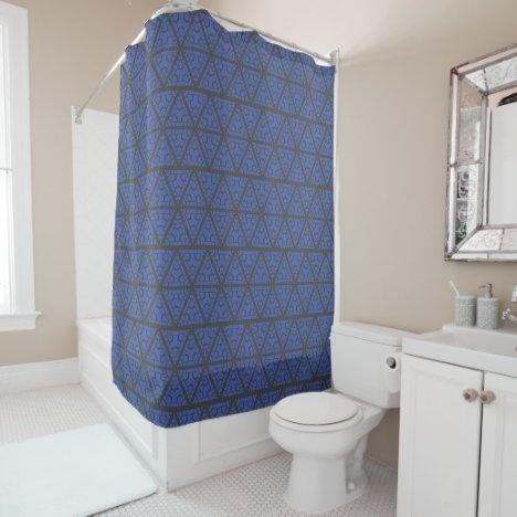 blue and dark gray GEOMETRIC PATTERN Shower Curtain