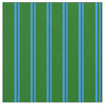 [ Thumbnail: Blue and Dark Green Colored Stripes Fabric ]
