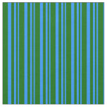 [ Thumbnail: Blue and Dark Green Colored Stripes/Lines Pattern Fabric ]