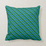 [ Thumbnail: Blue and Dark Green Colored Stripes/Lines Pattern Throw Pillow ]
