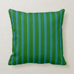 [ Thumbnail: Blue and Dark Green Colored Stripes Throw Pillow ]