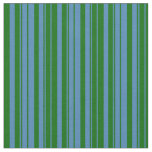 [ Thumbnail: Blue and Dark Green Striped/Lined Pattern Fabric ]
