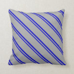 [ Thumbnail: Blue and Dark Grey Stripes/Lines Pattern Pillow ]