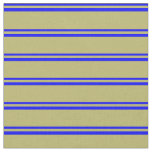 [ Thumbnail: Blue and Dark Khaki Colored Lined Pattern Fabric ]