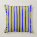 [ Thumbnail: Blue and Dark Khaki Colored Lined Pattern Pillow ]