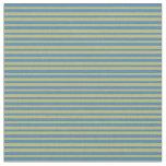 [ Thumbnail: Blue and Dark Khaki Stripes Pattern Fabric ]