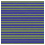 [ Thumbnail: Blue and Dark Olive Green Colored Stripes Fabric ]