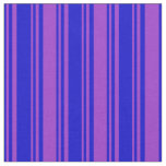 [ Thumbnail: Blue and Dark Orchid Colored Pattern of Stripes Fabric ]