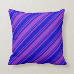 [ Thumbnail: Blue and Dark Orchid Colored Pattern of Stripes Throw Pillow ]