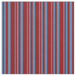 [ Thumbnail: Blue and Dark Red Colored Striped/Lined Pattern Fabric ]