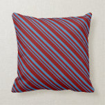 [ Thumbnail: Blue and Dark Red Colored Striped/Lined Pattern Throw Pillow ]