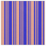 [ Thumbnail: Blue and Dark Salmon Colored Lines Pattern Fabric ]