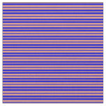 [ Thumbnail: Blue and Dark Salmon Colored Pattern of Stripes Fabric ]