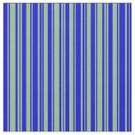 [ Thumbnail: Blue and Dark Sea Green Colored Stripes Pattern Fabric ]