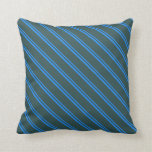 [ Thumbnail: Blue and Dark Slate Gray Striped/Lined Pattern Throw Pillow ]