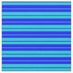 [ Thumbnail: Blue and Dark Turquoise Pattern Fabric ]